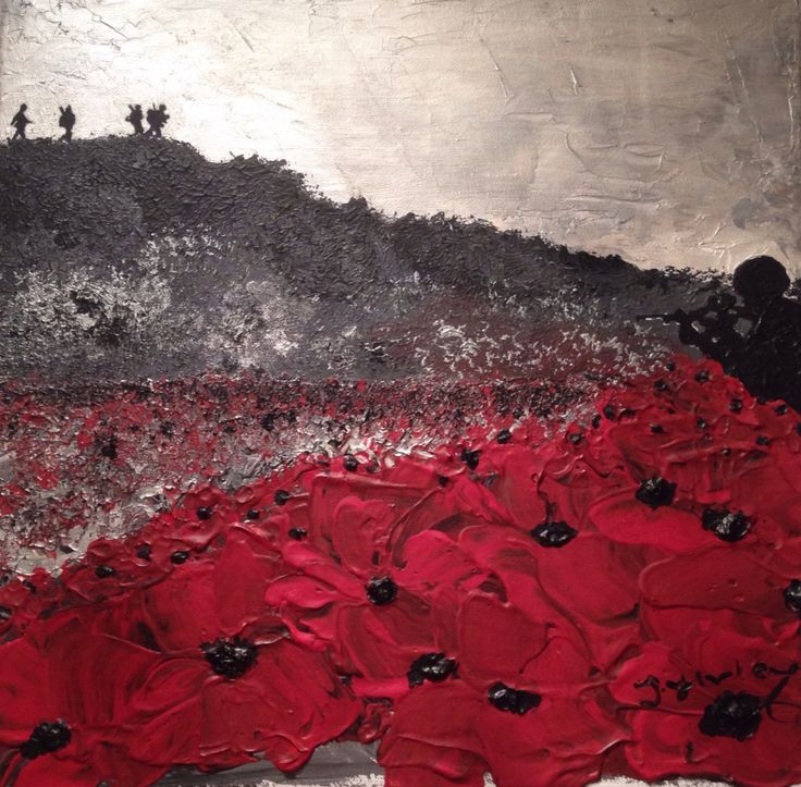 We Remember, We Fight On War Poppy Collection No.1 By Jacqueline Hurley Remembrance poppy painting
