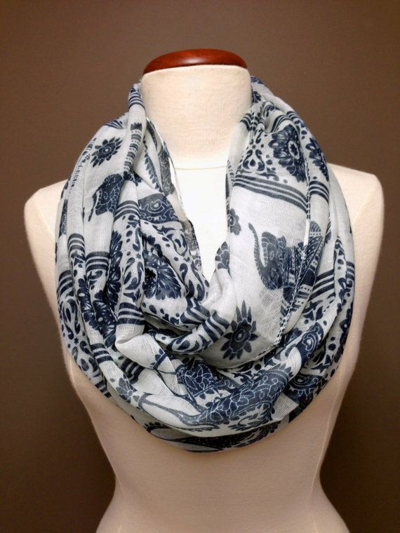 Elephant Print Scarf/Women Accessory by KnitKozi on Etsy, $20.00  Ships in 1 day! For more selection of these beautiful scarves visit: https://www.etsy.com/ca/shop/Knitkozi?ref=si_shop