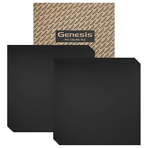 Genesis - Smooth Pro Black 2x2 Ceiling Tiles 4 mm thick (carton of 12) – These 2'x2' Drop Ceiling Tiles are Water Proof and Won't Break - Fast and Easy Installation (2' x 2' Tile):   Genesis will be the last ceiling tiles you'll ever need to buy. These ceiling tiles 2x2 ft. are manufactured from cellular PVC with a smooth surface allowing it to be water proof, washable and very durable. These suspended ceiling tiles have a Class A Fire Rating and are perfect for homes, basement ceiling...