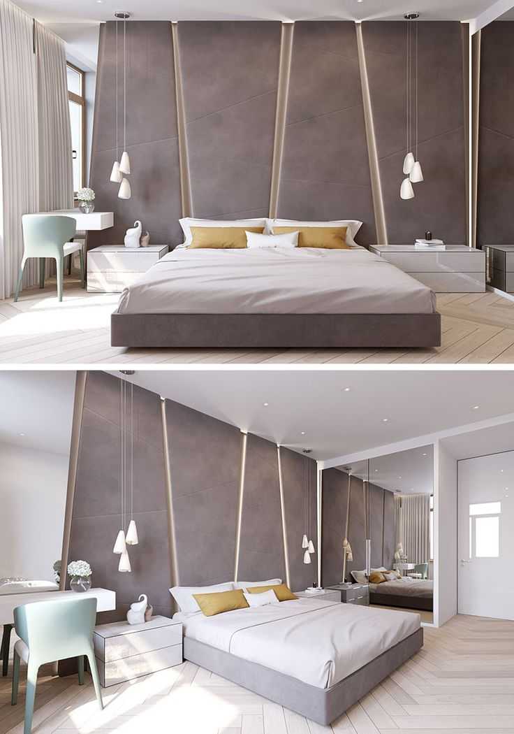 the angular upholstered headboard in this modern bedroom almost takes up the entire wall - Modern Bedroom Decorating