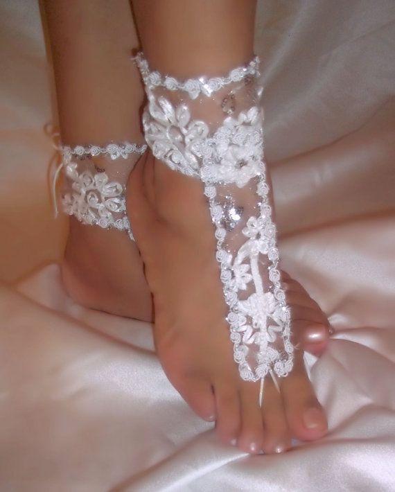 Barefoot Sandals bruiloft sandalen witte Lace door DesignsByLoure