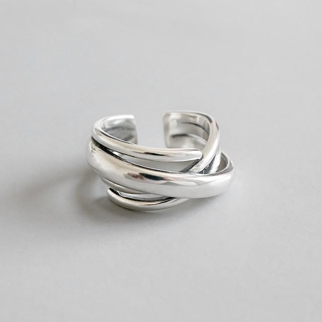 Women Silver Plated Ring Multi Layer Winding Twist Open Ring Vintage Jewelry NEW