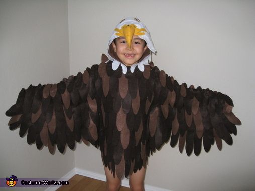 Brenda: My 7 years old son wants to be a bald eagle this year, so I decided to make one for him. I used a hooded shirt and cut out the...