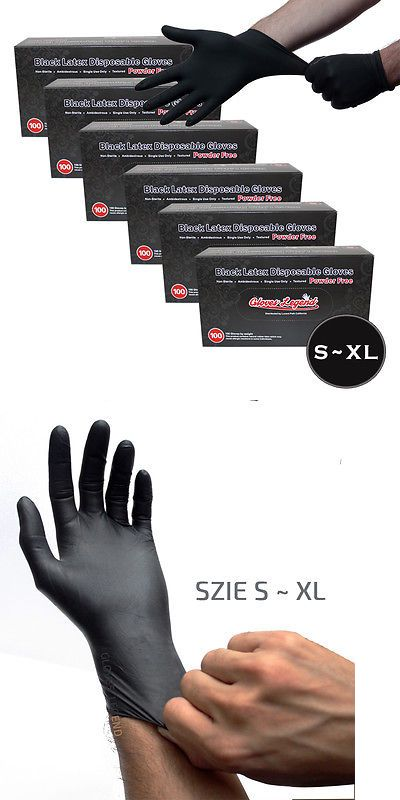 Tattoo Supplies: 600 Black Latex Disposable Tattoos Piercing Industrial Gloves - Powder Free BUY IT NOW ONLY: $45.95