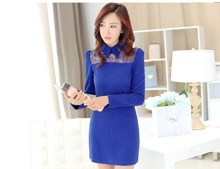 ชุดเดรสทำงานสีน้ำเงิน แขนยาว คอปก ช่วงคอเย็บผ้าตาช่าย เอวเข้ารูป http://www.fashiontooktook.com/product/3252/