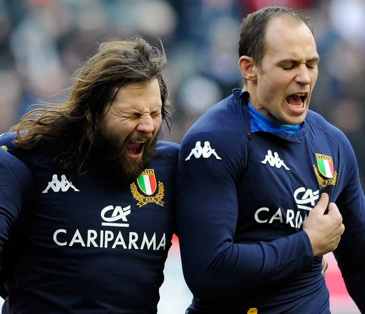 Martin Castrogiovanni and Sergio Parisse boom out the national anthem