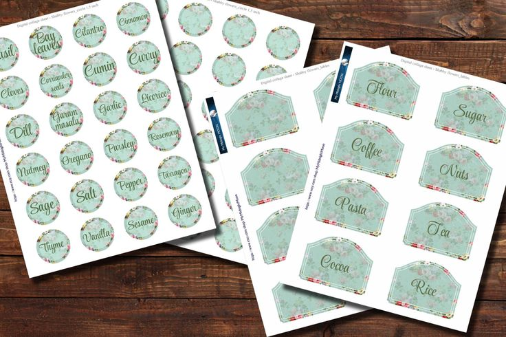 Digital Printabble Kitchen Stickers - Shabby Flowers. 4 Page 8,5x11 inch. Home Storage, organization. Pantry Labels. by MyMidnightMoon on Etsy