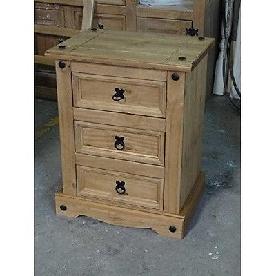 Corona-3-Drawer-Bedside-Solid-Pine-Furniture-Mexican-Design-Style-Antique-Wax