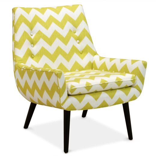 This is super cute! It has a personality. From @Jonathan Adler Mrs Godfrey Chair In Limitless Linden in All NewGodfrey Chairs, Tv Room, Chevron Pattern, Living Room, Limitless Linden, Furniture, Jonathan Adler, Design, Side Chairs