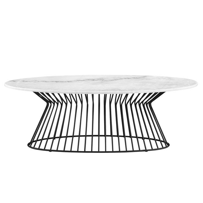 Elegant White marble tops rest on up swooping graceful frames finished in Matte Black. Make a contemporary Black/White statement or a subtle mid century statement.