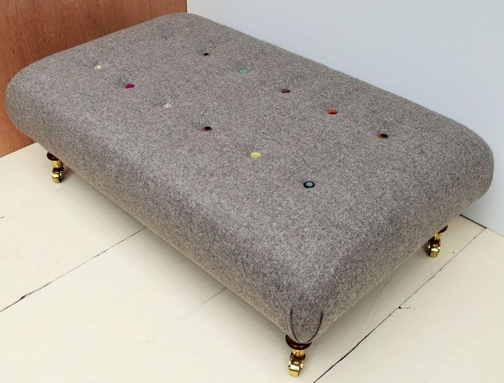 New Buttoned Handmade Large Footstool / table - Moon 100% Wool Hessian Fabric!!!