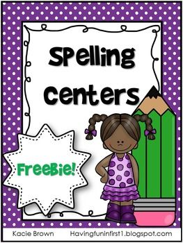 This+freebie+is+has+my+favorite+spelling+center+activities.+ABC+order,+rainbow+spelling,+spell+&+search,+roll+&+spell+and+vowels+in+color.