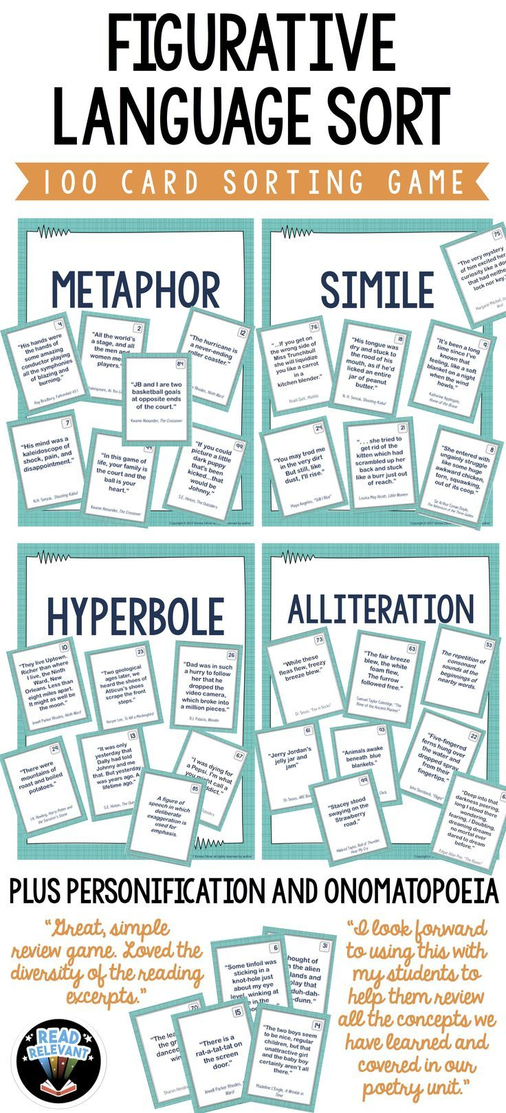 Use this fun and interactive sorting game to review and reinforce figurative language. These 100 cards each have examples of figurative language taken from real YA literature. Students will sort them into seven categories: metaphors, similes, personification, hyperboles, idioms, onomatopoeia, alliteration.