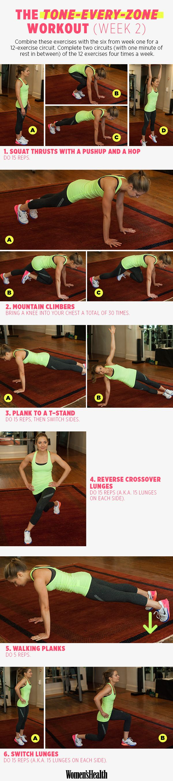 6 Moves for Total-Body Toning WEEK 2 - Our four-week training plan with celeb trainer David Kirsch kicks off today! Meet the first week of strength-training exercises here.   Women's Health Magazine #fitness #workout #health