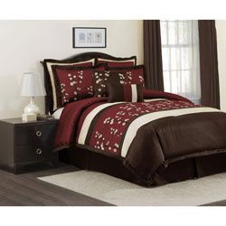 Lush Decor Red Cocoa Flower 8-piece Comforter Set