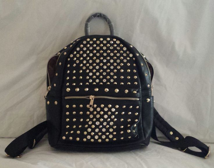 """""""AGTS"""" Logo Diamantes and Gold Studs Backpack $65.00"""