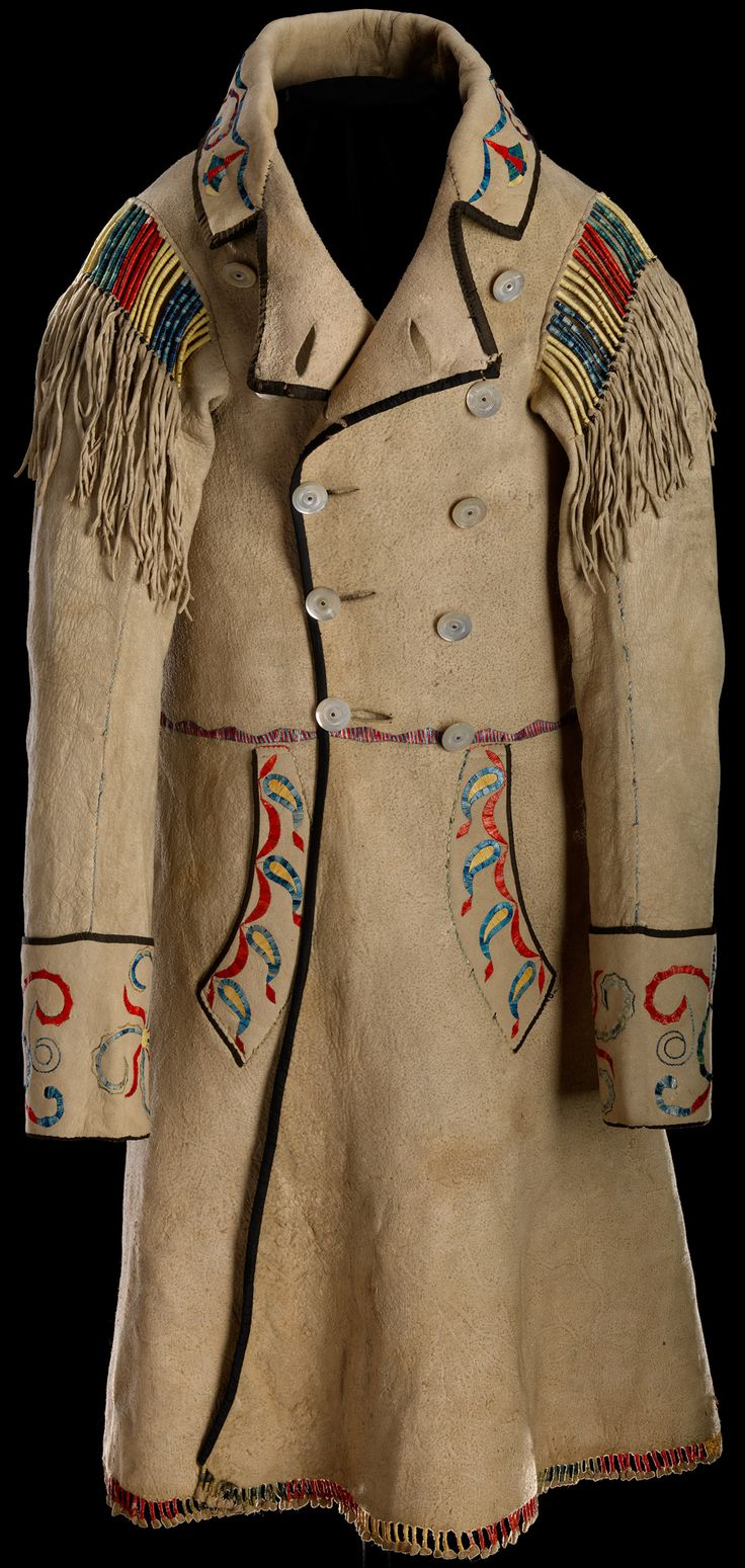Cree Métis Coat front c. 1874; Red River, Hide, mother of pearl buttons, silk ribbon, porcupine quill, dyes