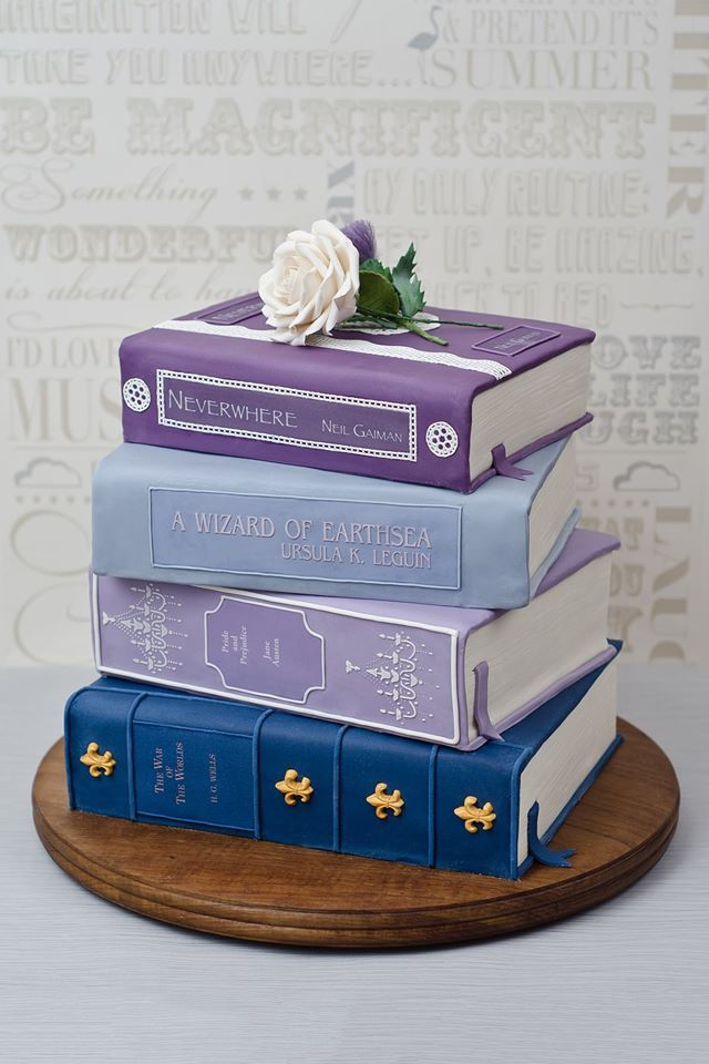 Books Cake.. lovely color combination and love that Neverwhere is one of the titles included :)