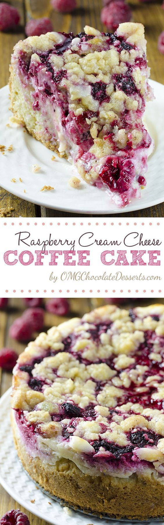 Raspberry Cream Cheese Coffee Cake – all flavors you love, you'll get here in every bite: moist and buttery cake, creamy cheesecake filling, juicy raspberries and crunchy streusel topping.