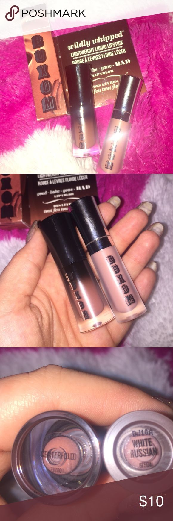 """Buxom Lip Bundle Travel size Buxom """"White Russian"""" full on lip cream brand new only swatched, and travel size Buxom wildly whipped liquid lipstick in """"Centerfold"""" brand new in box only swatched. I always send extras  Sephora Makeup Lipstick"""