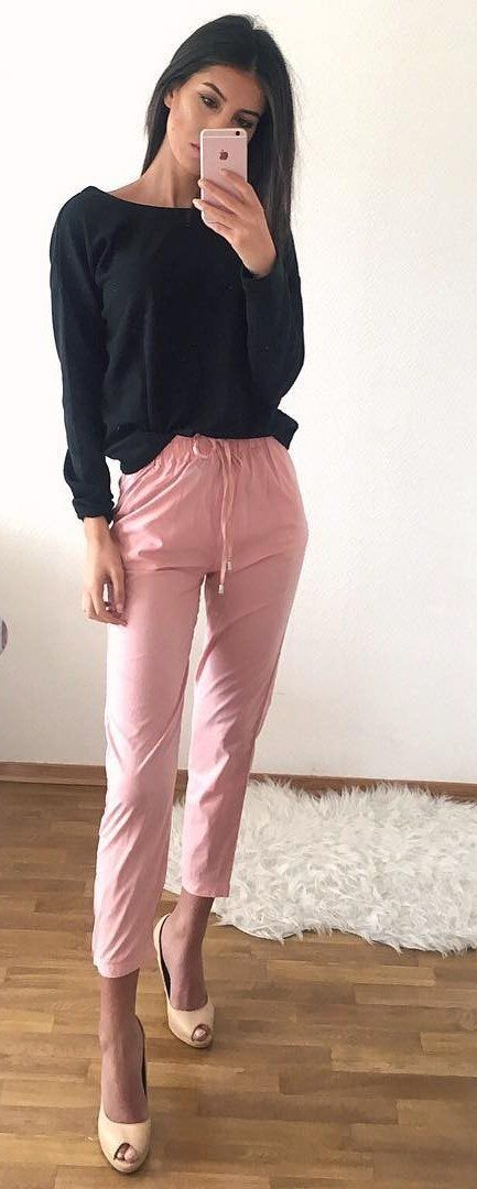 #fall #outfits ·  Black Top + Pink Pants + Heels