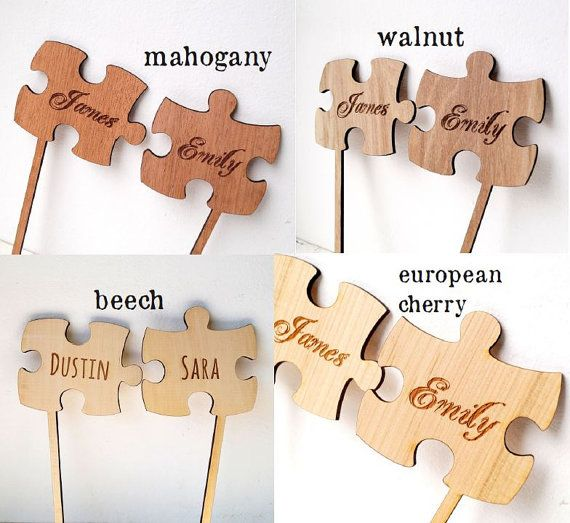 Puzzle Cake Topper, Two Puzzle Pieces Wedding Cake Toppers, Rustic Wooden Cake…