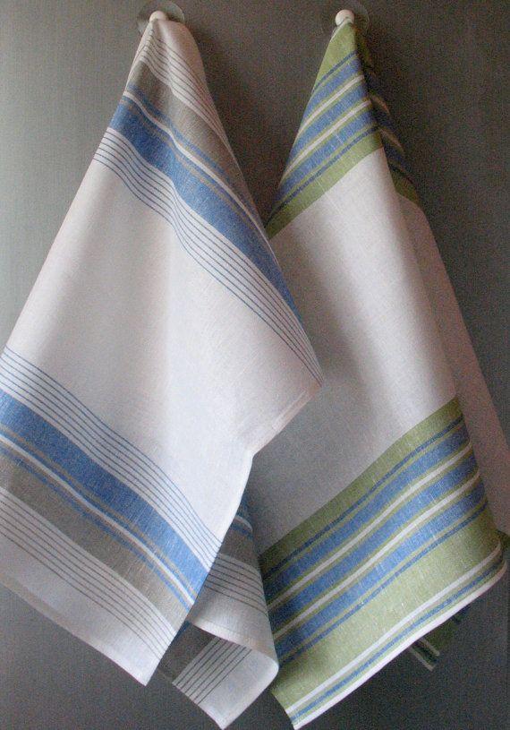 Linen Cotton Dish Towels  Tea Towels set of 2 by Coloredworld, $15.90