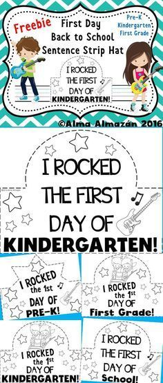 *Freebie A teacher friend requested these. Soooo I am making available for everyone to download for free. This item consists of very simple headbands or sentence strip hat for your little ones to make on their first day back to school. There are a few options to choose from. Hope you like them!   Includes: I rocked the first day of Pre-K Kindergarten First Grade, and School!  Created by Alma Almazan