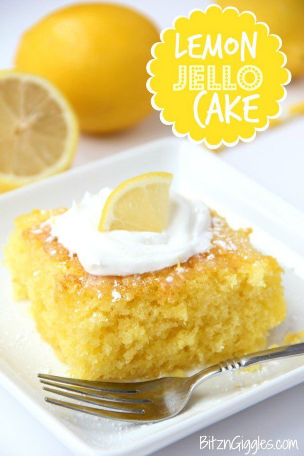 Lemon Jello Cake | DIY Jello Cake Ideas | Delicious and Easy Dessert Recipes Perfect This Summer! http://diyready.com/diy-jello-cake-ideas/