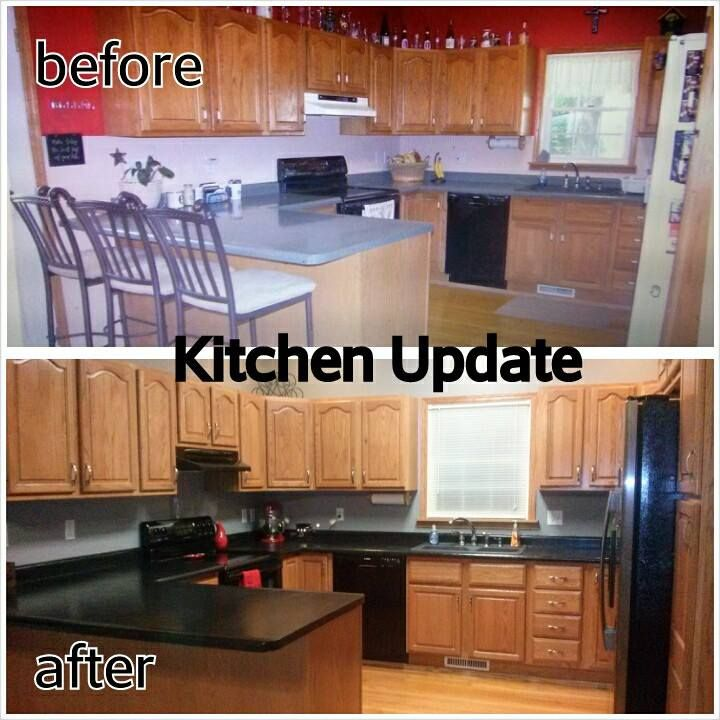 Kitchen Countertops Upgrade: Honey Oak Kitchen Update. Grey Paint Color And Dark