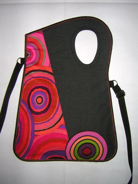 Cheerful Haversack medium canvas bag Geometrics Crossbody Medium tote  iPadmini purse Travel Sling Bag Dark gray Red Rainbow with circle's
