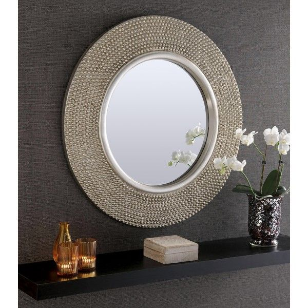 rome large round silver stud framed wall mirror 31 on mirror wall id=56640