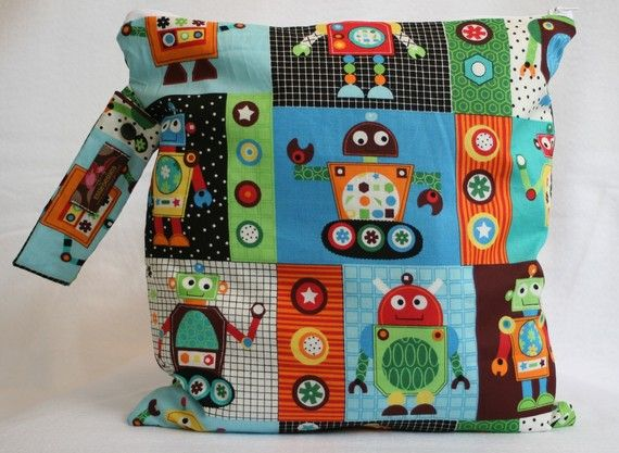 Wet Bag-Large Waterproof Wet Bag  Robot Robots by Essiedesigns