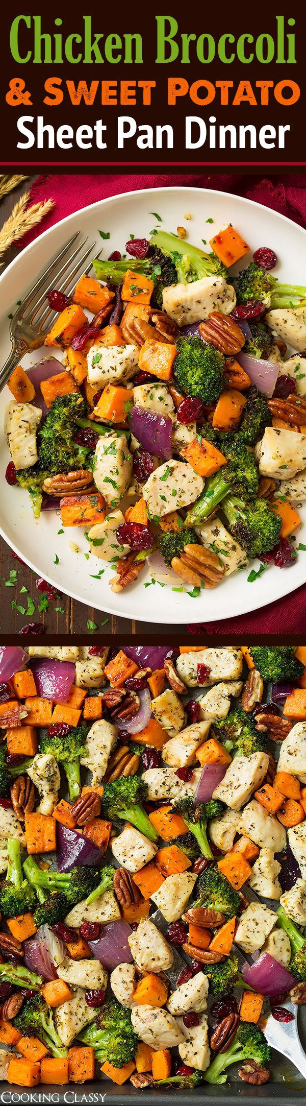 Chicken Broccoli and Sweet Potato Sheet Pan Dinner - A new go-to healthy fall dinner! Whole family LOVED this recipe!