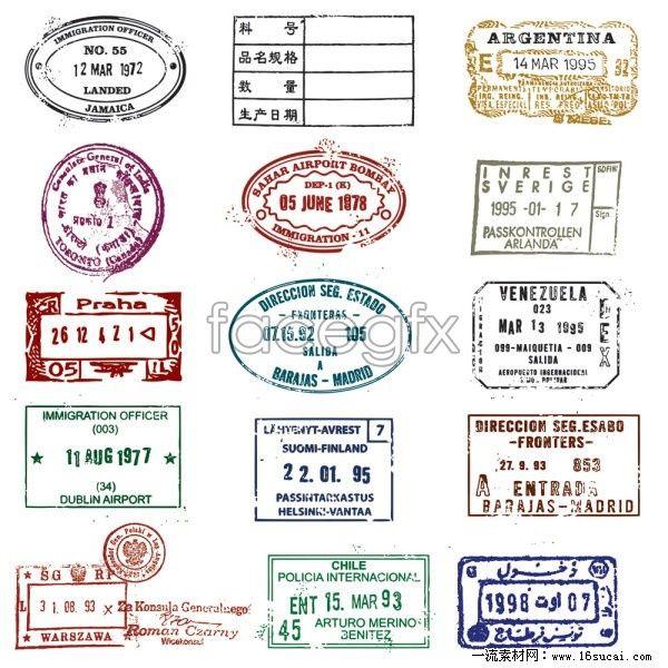 National passport stamp stamp vector 2