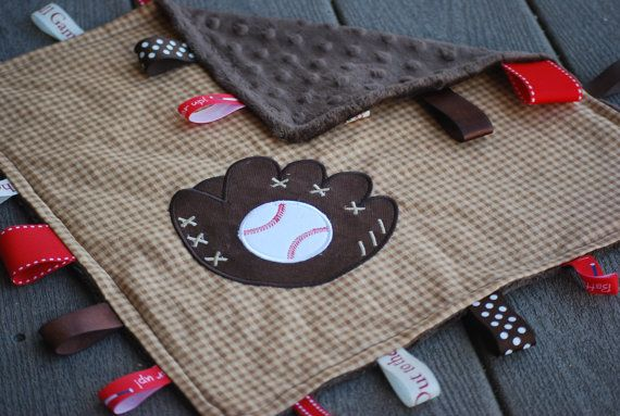 Baseball glove applique baby blanket with ribbons-perfect baby shower gift.  Can be personalized/monogrammed. on Etsy, $14.00