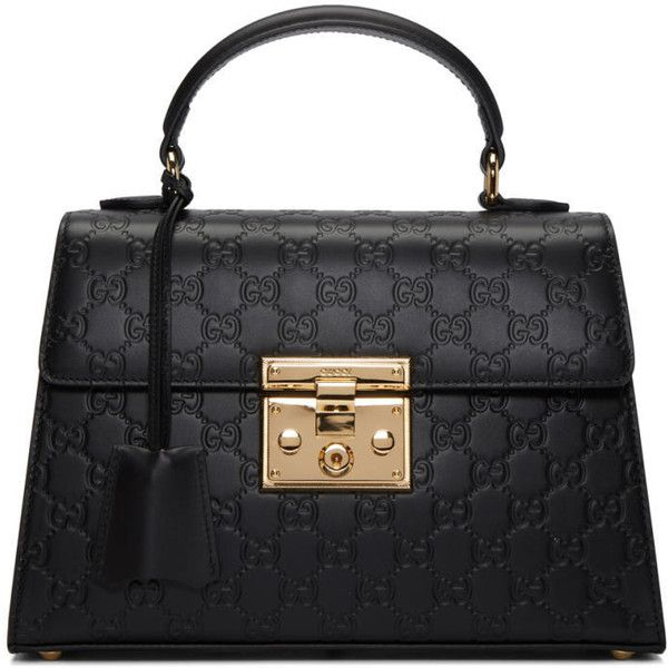 Gucci Black Small GG Lady Padlock Bag ($2,090) ❤ liked on Polyvore featuring bags, handbags, shoulder bags, black, gucci purses, kiss-lock handbags, studded handbags, studded purse and genuine leather handbags