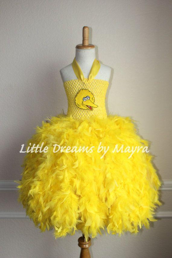 Big bird inspired tutu dress - big bird costume - sesame street inspired outfit - yellow feather tutu dress size nb to 9years