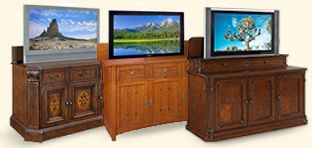 """TV lift cabinets: Infrared remote control lets you control your TV lift console without having to open the TV cabinet doors. Choose from electric fireplace TV lift cabinets, entertainment centers and more. Foot of bed TV lifts: Ideal for cozy spaces, our flat, LCD or plasma lift cabinets allow you to enjoy TV from the comfort of your bed. TV lift mechanisms: Learn why our incredibly quiet """"Uplift TV lift mechanism"""" is the favorite of TV lift architects"""