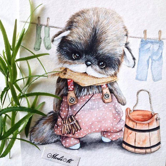 Я безумно влюблена в этого енотикаМалыш для @turchenko.anna #енот#raccoon#handmade#рисунок#акварель#иллюстрация#drawing#watercolor#artwork#illustration#sketch#sketching