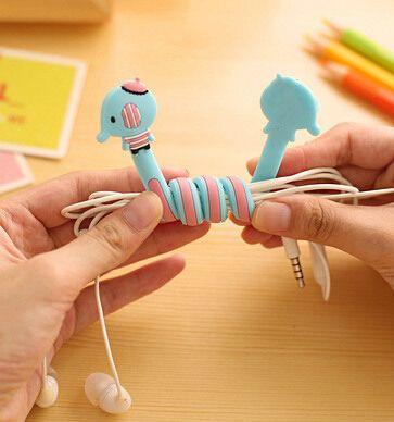 [YYYYAAAA] 1 unids Varios animales panda encantadora línea eléctrica cable de auriculares de acabado cuadro de dibujos animados limpio