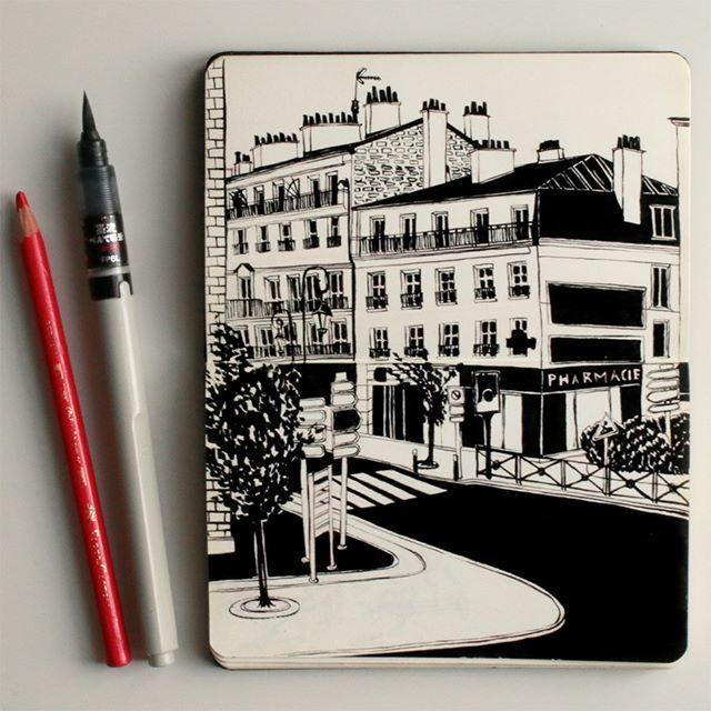 Anna Lubinski - Croquis du jour: vue sur la rue. Sketch of the day: street view…