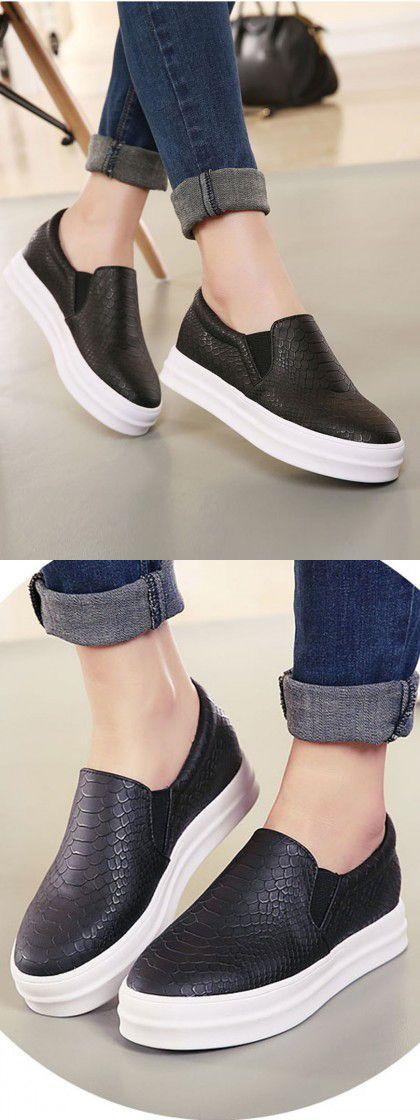 Black Snake Pattern Platform Shoes