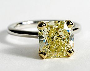 Canary Yellow Diamond set in Petite Nouveau Solitaire Engagement Ring in Platinum
