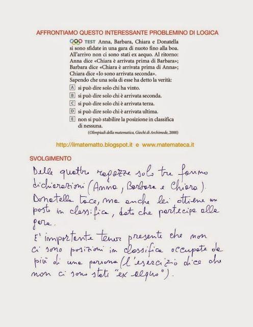 Per gli studenti del primo anno di scuola superiore: ESERCIZI SVOLTI DI LOGICA MATEMATICA(OLIMPIADI DI ...
