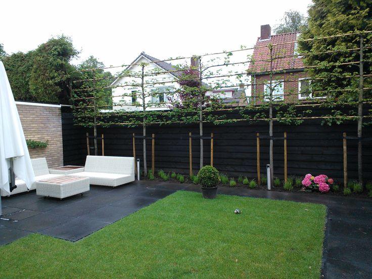 Weer een tuin gerealiseerd door Snoeren Cultuurtechniek. Rustig met gazon & leilindes & bestrating.