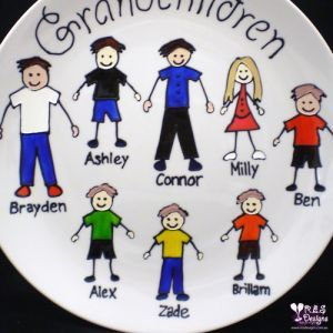 GRANDCHILDREN MOTHER'S DAY PLATE, PERSONALISED - 8 CHARACTERS