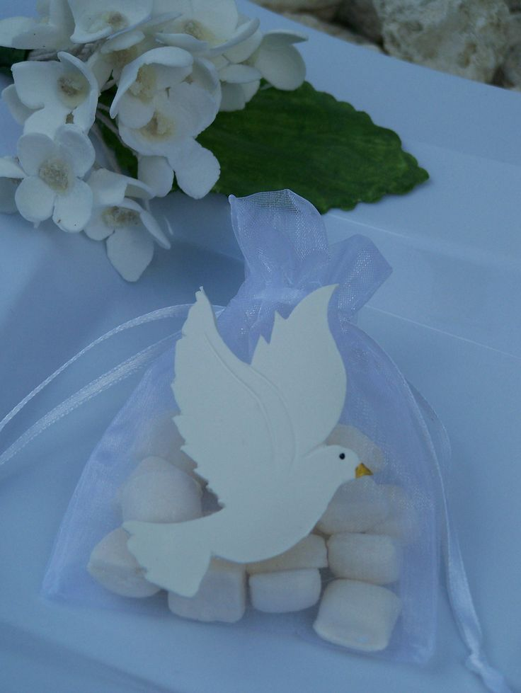 First Communion, baptism, confirmation Dove party favor bags 10 pieces. $13.50, via Etsy.