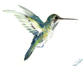 Deep green Hummingbird painting 14 x 11inbright by ORIGINALONLY