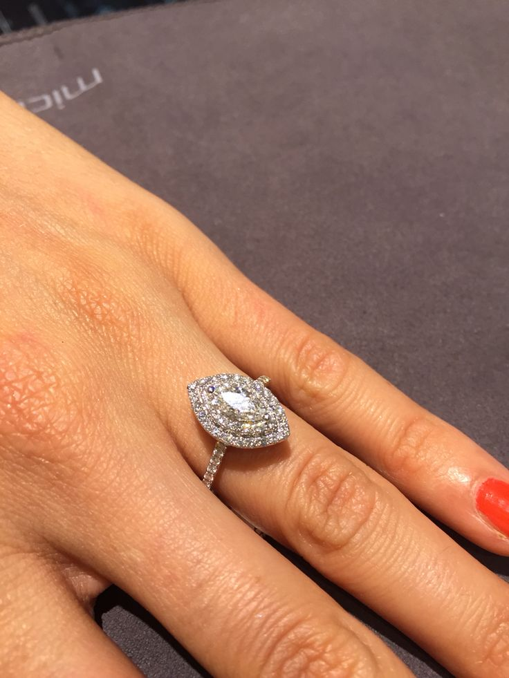 Marquise engagement ring with double halo